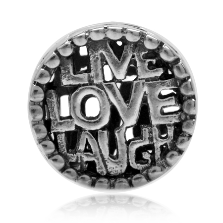 925 Sterling Silver LIVE LOVE LAUGH w/Heart on the Side European Charm Bead (Fits Pandora Chamilia)