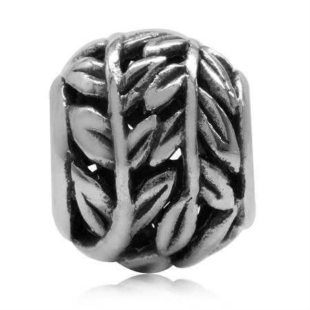 925 Sterling Silver Filigree Leaf European Charm Bead (Fits Pandora Chamilia)