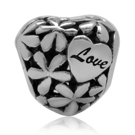 925 Sterling Silver LOVE Flower Filigree Heart European Charm Bead (Fits Pandora Chamilia)