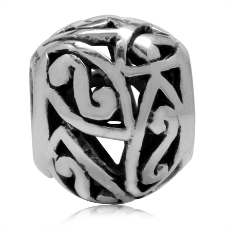 925 Sterling Silver S-Pattern Swirl Filigree European Charm Bead (Fits Pandora Chamilia)
