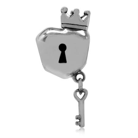 925 Sterling Silver Crown Heart Shape Padlock w/Dangle Key European Charm Bead