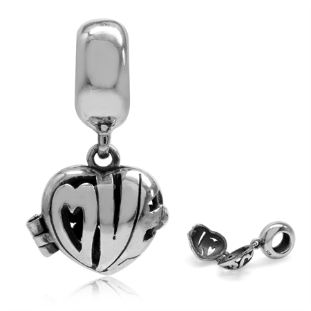 925 Sterling Silver Dangle LOVE Heart Shape Openable Locket European Bead Charm