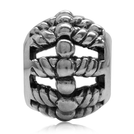 925 Sterling Silver Filigree Rope Pattern European Bead Charm (Fits Pandora Chamilia)