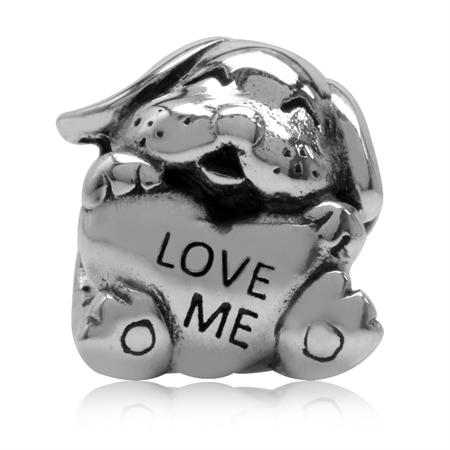 "925 Sterling Silver Dog Pet ""LOVE ME"" European Charm Bead (Fits Pandora Chamilia)"