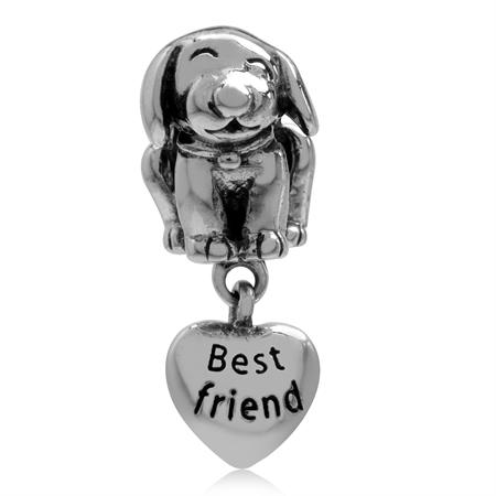 Dog Pet Best Friend & Paw Print on Dangle Heart 925 Sterling Silver European Charm Bead