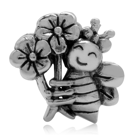 925 Sterling Silver Bee Holding Flowers European Charm Bead (Fits Pandora Chamilia)