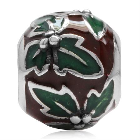 Red & Green Enamel 925 Sterling Silver Christmas Leaf European Charm Bead (Fits Pandora Chamilia)