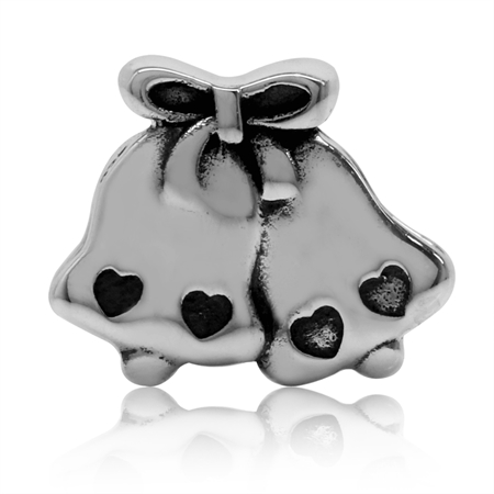 925 Sterling Silver Twin Bell European Charm Bead (Fits Pandora Chamilia)