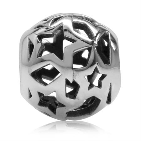 925 Sterling Silver Filigree Star European Charm Bead (Fits Pandora Chamilia)