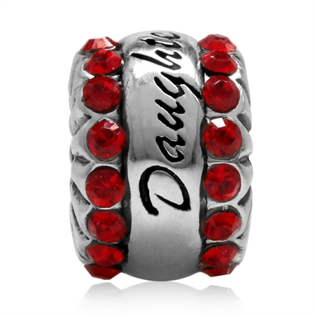 Light Saim Crystal 925 Sterling Silver DAUGHTER European Charm Bead (Fits Pandora Chamilia)