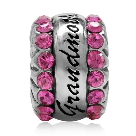Rose Pink Crystal 925 Sterling Silver GRANDMOTHER European Charm Bead (Fits Pandora Chamilia)