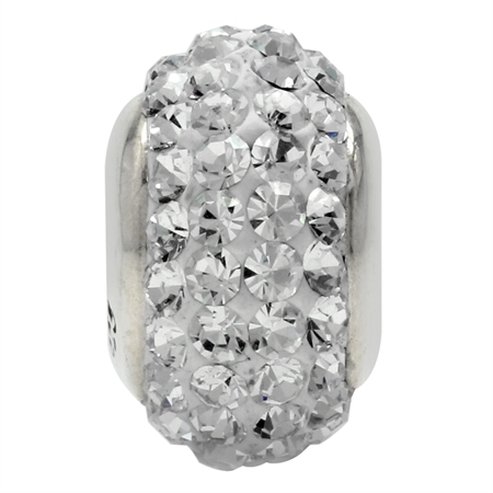 White Crystal 925 Sterling Silver European Charm Bead (Fits Pandora Chamilia)