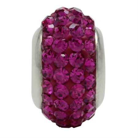 Fuchsia Pink Crystal 925 Sterling Silver European Charm Bead (Fits Pandora Chamilia)
