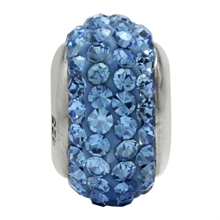 Light Sapphire Blue Crystal 925 Sterling Silver European Charm Bead (Fits Pandora Chamilia)
