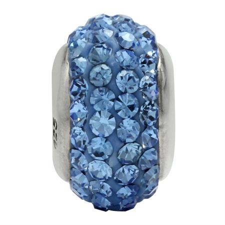 Light Sapphire Blue Crystal 925 Sterling Silver European Charm Bead (Fits Pandora Chamilia)