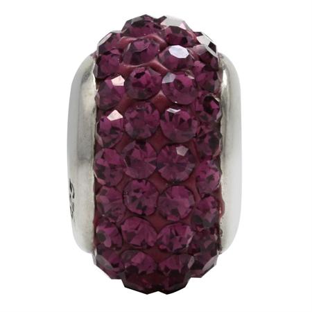 Amethyst Purple Crystal 925 Sterling Silver European Charm Bead (Fits Pandora Chamilia)