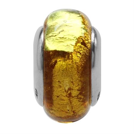 18K Gold Foil Italian Murano Glass 925 Sterling Silver European Charm Bead (Fits Pandora Chamilia)