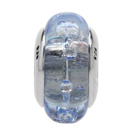 Tanzanite Italian Murano Glass w/Crystal 925 Sterling Silver European Bead (Fits Pandora Chamilia)