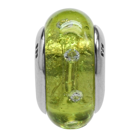 Green Italian Murano Glass w/Crystal 925 Sterling Silver European Charm Bead (Fits Pandora Chamilia)