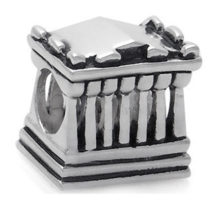 925 silver plated greek parthenon european charm bead