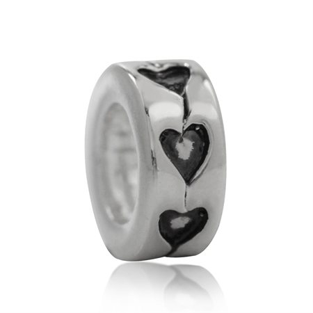 925 Silver Plated HEART Spacer European Charm Bead (Fits Pandora Chamilia)