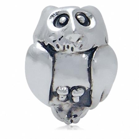 925 Silver Plated WISE OWL European Charm Bead (Fits Pandora Chamilia)