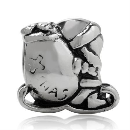 925 Silver Plated SANTA SLEIGH European Charm Bead (Fits Pandora Chamilia)