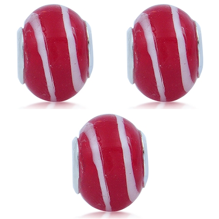 SET of 3 Red  & White Murano Glass Stainless Steel European Charm Bead (Fits Pandora Chamilia)