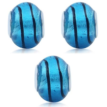 SET of 3 Blue & Black Murano Glass Stainless Steel European Charm Bead (Fits Pandora Chamilia)