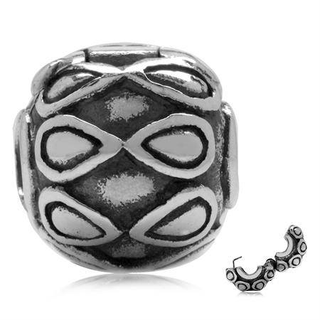 925 Sterling Silver Drop Pattern European Charm Lock Bead (Fits Pandora Chamilia)