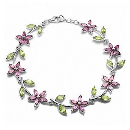 """Natural Rhodolite Garnet & Peridot Gold Plated 925 Sterling Silver Flower Leaf 7-8"""" Adj. Bracelet"""