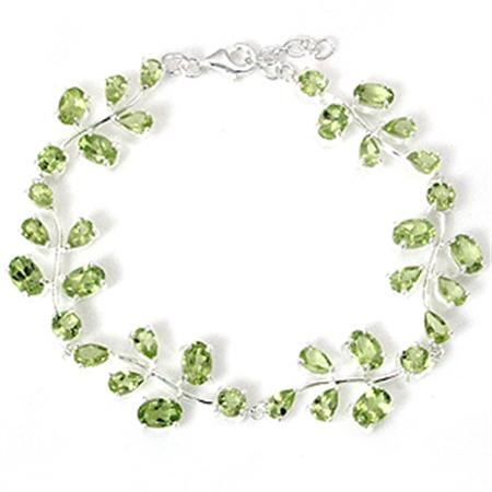 10.56 ct. Natural Peridot 925 Sterling Silver Leaf 6.5-7.5  Inch Adjustable Bracelet
