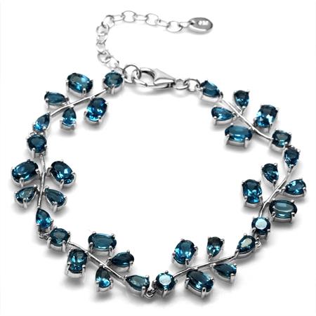 12.3ct. Genuine London Blue Topaz 925 Sterling Silver Leaf 6.75-8.25 Inch Adjustable Bracelet