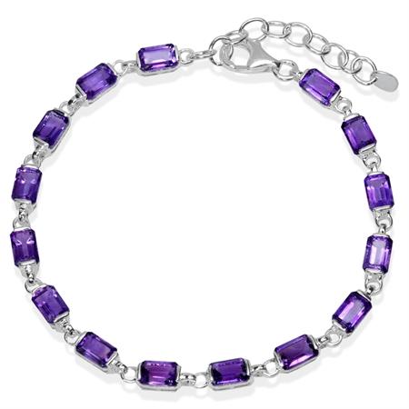 8.7ct. Natural African Amethyst 925 Sterling Silver 7-8.5 Inch Adjustable Bracelet