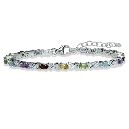 "Natural Amethyst Garnet Citrine Peridot Blue Topaz 925 Sterling Silver 7-8.5"" Adjustable Bracelet"