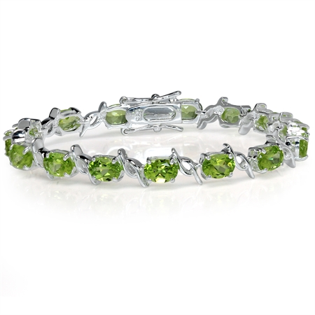12ct. Natural Peridot White Gold Plated 925 Sterling Silver Tennis Bracelet 6.5 Inch.