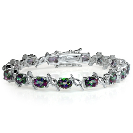 14.25ct. Mystic Fire Topaz White Gold Plated 925 Sterling Silver Tennis Bracelet 6.5 Inch.