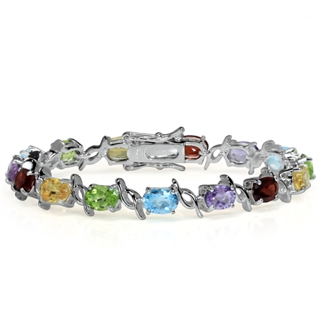 Natural Garnet, Amethyst, Peridot, Citrine & Topaz 925 Sterling Silver Tennis Bracelet 6.5 Inch.