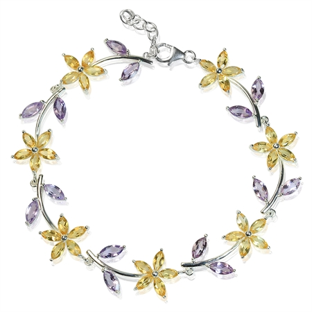 "Natural Citrine & Amethyst 925 Sterling Silver Flower Leaf 7-8"" Adj. Bracelet"