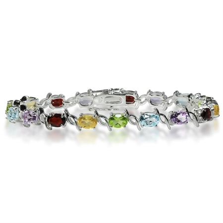 Natural Garnet, Amethyst, Peridot, Citrine & Topaz 925 Sterling Silver Tennis Bracelet 7.5 Inch.