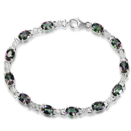 10.8ct. Mystic Fire Topaz 925 Sterling Silver Tennis Bracelet