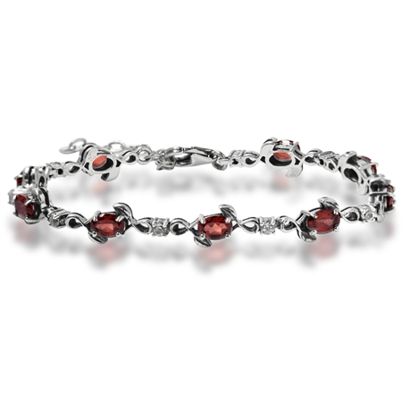 4.77ct. Natural Garnet & White Topaz 925 Sterling Silver Leaf 7-8.5 Adjustable Bracelet
