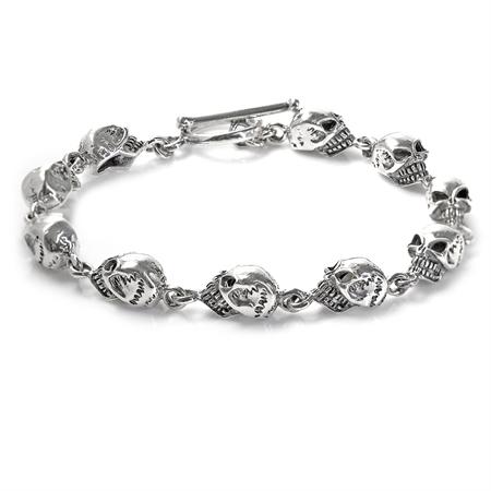 8 inch Antique Finish 925 Sterling Silver Goth Girl Death Head Skeleton Skull Chram Bracelet