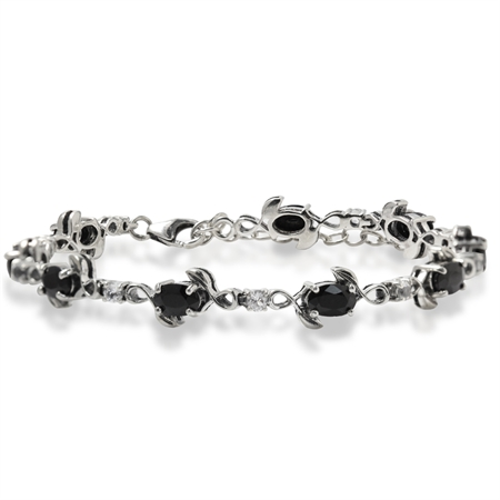 5.94ct. Natural Black Sapphire & White Topaz 925 Sterling Silver Leaf 7-8.5 Adjustable Bracelet