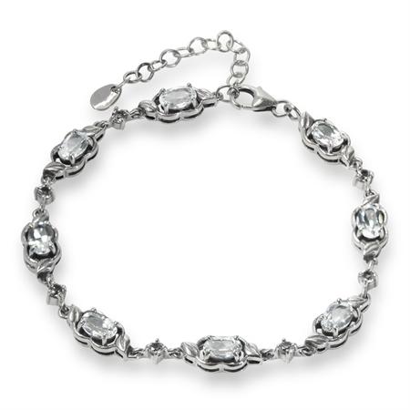 4.56ct. Genuine White Topaz 925 Sterling Silver Leaf 6.5-8.25 Inch Adjustable Bracelet