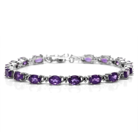 "12.41ct. Natural African Amethyst 925 Sterling Silver Victorian Style 7.5-9"" Adjustable Bracelet"