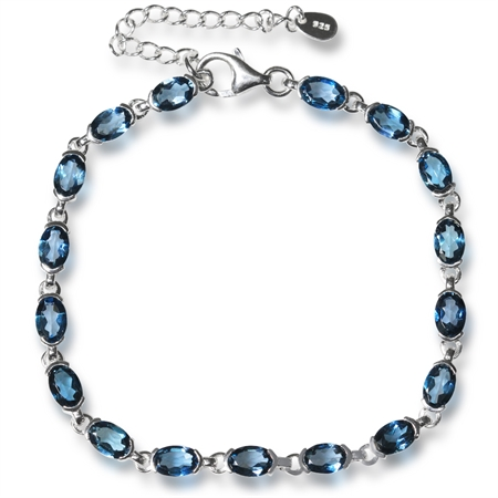 "9.35ct. Genuine London Blue Topaz Gold Plated 925 Sterling Silver Tennis 7-8.5"" Adjustable Bracelet"
