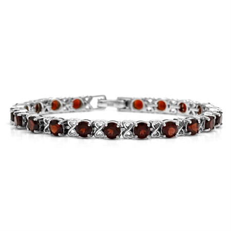 11.8ct. Natural Garnet 925 Sterling Silver Heart Ribbon Tennis Bracelet