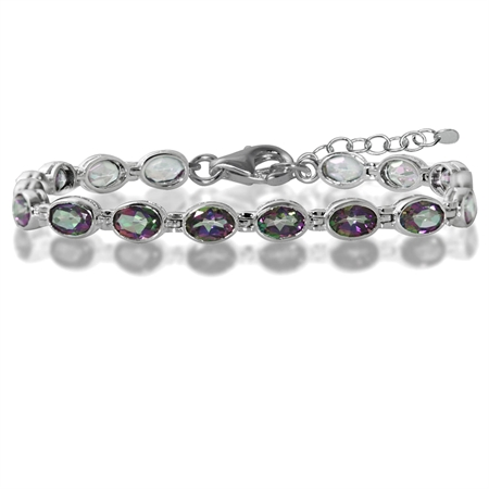13.92ct. Mystic Fire Topaz 925 Sterling Silver Bezel Setting 7-8.5 Inch Adjustable Tennis Bracelet