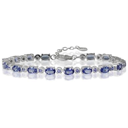 7.84ct. Genuine Tanzanite 925 Sterling Silver Tennis 7-8.5 Adjustable Bracelet